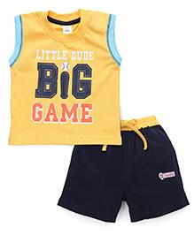ToffyHouse Sleeveless T-Shirt Printed And Shorts - Yellow Navy