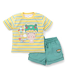 ToffyHouse Half Sleeves T-Shirt Patch And Printed And Corduroy Shorts - Yellow Green