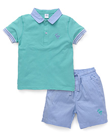 ToffyHouse Half Sleeves T-shirt And Shorts - Sea Green And Blue