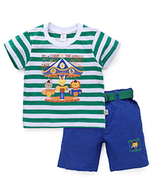 ToffyHouse Half Sleeves T-shirt And Shorts - Green And Blue