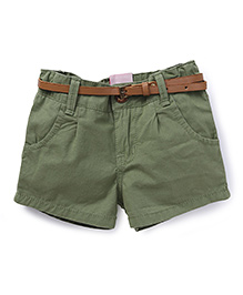 Button Noses Shorts With Belt - Dark Green