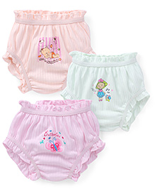Bodycare Multi Printed Panties Set Of 3 - Green Peach Pink (Colors And Prints May Vary)