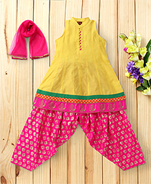 Twisha Set Of Stand Collar Kurta Brocade Dhoti & Dupatta - Yellow & Pink