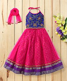 Twisha Set Of Embroidered Choli With Flare Ghaghra & Dupatta - Blue & Magenta