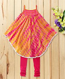 Twisha Set Of Tie & Dye Kurta With Leggings - Yellow & Pink