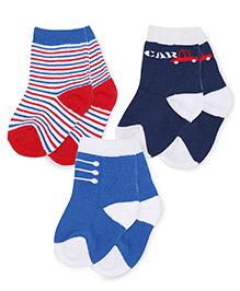 Mustang Socks Pack Of 3 - Red Navy Blue