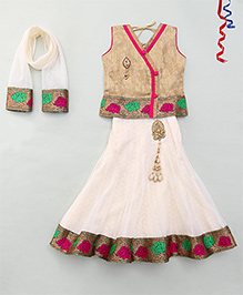 Party Princess Overlap Pattern Choli & Lehenga Set With Dupatta - Gold