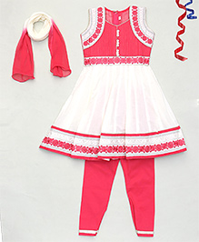 Party Princess Flower Embroidered Kurti & Churidar Set With Dupatta - Red