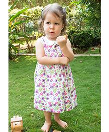Bachha Essential Bohemian Floral Printed Dress - White & Purple
