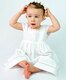 Bachha Essential Gathered Lace Dress - White