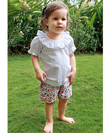 Bachha Essential Floral Printed Shorts - Red & White