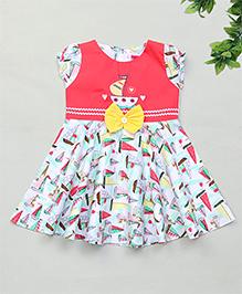 Enfance Simple Cap Sleeves Dress - Coral