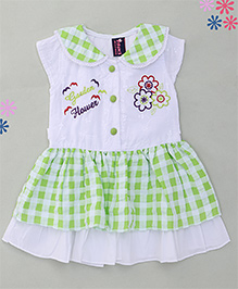 Enfance Stylish Embroidery Dress With Peter Pen Collar - Green