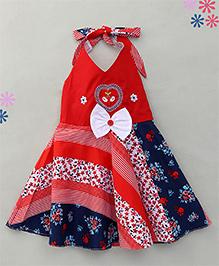 Enfance Stylish Halter Neck Casual Dress - Red