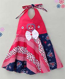 Enfance Stylish Halter Neck Casual Dress - Pink