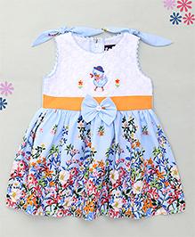 Enfance Floral Print Dress With Bow Design - White & Light Blue
