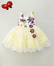 Enfance Sleeveless Party Dress With Floral Detailing - White & Lemon