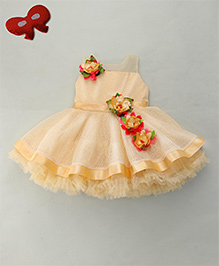 Enfance Party Wear Dress With Beautiful Flowers Attached - Golden