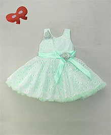 Enfance Elegant Sleeveless Party Dress With Bow & Flower Belt Attached - Green