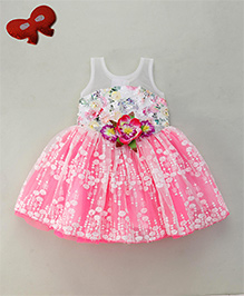 Enfance Party Wear Dress With Embroidery - White & Pink