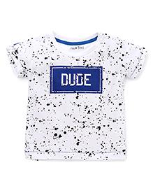 Palm Tree Half Sleeves T-Shirt Dude Print - White