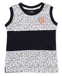 Palm Tree Sleeveless Printed T-Shirt - Light Grey Navy