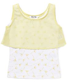 Palm Tree Sleeveless Layered Top Floral Print - Yellow White