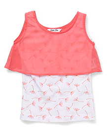 Palm Tree Sleeveless Layered Top Floral Print - Coral White
