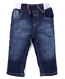 Gini & Jony Pull On Denim Jeans With Drawstring - Dark Blue