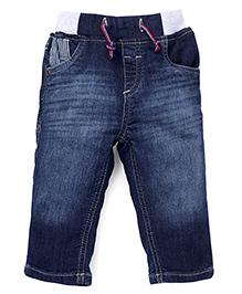 Gini & Jony Pull On Denim Jeans With Drawstring - Dark Blue