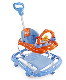 Musical Baby Walker With Push Handle - Sky Blue Orange