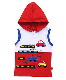 Spark Sleeveless Tee With Vehicles Patches - Red White