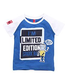 Spark Raglan Sleeves T-Shirt Printed - Royal Blue White