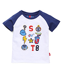 Spark Raglan Sleeves T-Shirt Printed With Patch Work - White Navy Blue