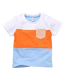 Spark Half Sleeves T-Shirt Stripes With Single Pocket - White Orange Blue