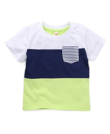 Spark Half Sleeves T-Shirt Stripes With Single Pocket - White Blue Green