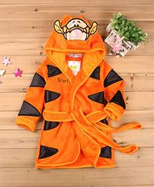 Pre Order - Mauve Collection Tiger Special Hooded Bathrobe - Orange