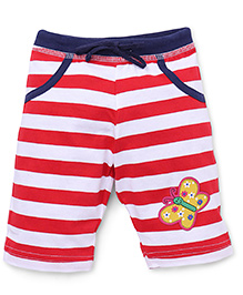 Bodycare Three Fourth Stripe Pants Butterfly Patch - Red White