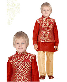 Ethniks Neu Ron Kurta Pajama With Waistcoat - Red
