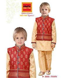Ethniks Neu Ron Kurta Pajama With Waistcoat - Red And Fawn