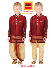 Ethnik's Neu Ron Kurta Pajama Set With Dhoti - Beige And Maroon
