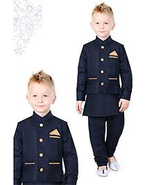 Ethnik's Neu-Ron Kurta Pyjama With Wais Coat - Navy Blue