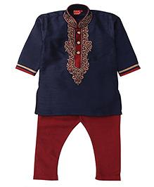 Ethnik's Neu-Ron Kurta Pajama Set - Blue  And Red