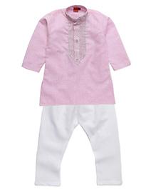 Ethnik's Neu-Ron Kurta Pajama Set - Pink White