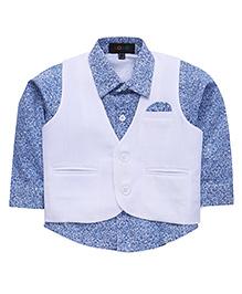 Robo Fry Full Sleeves Printed Shirt And Waistcoat - Blue & White