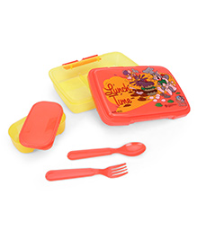 Tom And Jerry Lunch Box With Spoon And Fork - Orange And Yellow