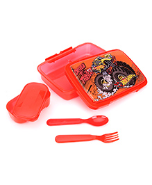 Hot Wheels Lunch Box With Spoon And Fork - Red