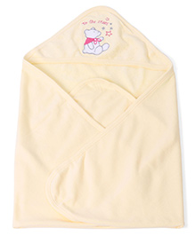 Pink Rabbit Hooded Towel Bear Embroidery - Light Yellow