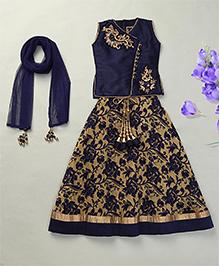 Enfance Gorgeous Floral Lehenga Choli Dupatta Set - Blue & Gold
