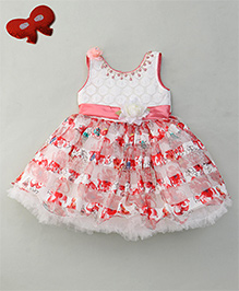 Eiora Pretty Floral Detailing Party Dress - Pink & White